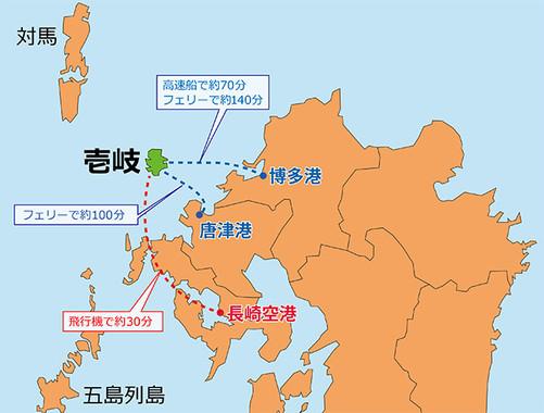 壱岐島は南北17km・東西14kmの大きさ(地図は編集部作成)