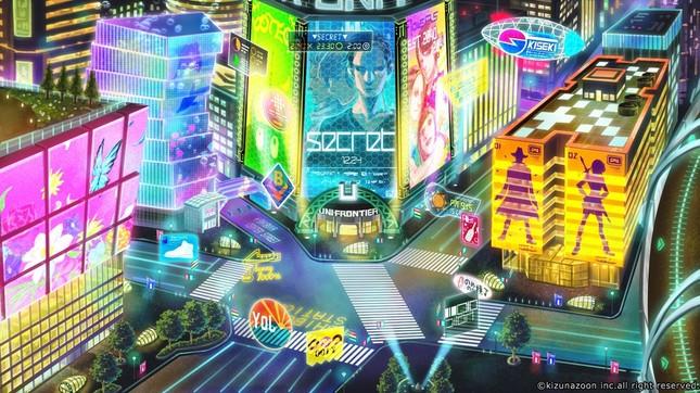 実際の渋谷の街を意識して、近未来の街並みを作成