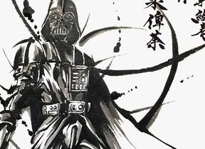 「ダース・ベイダー」の武士姿「星間大戦絵巻 帝国軍」 武人画師・こうじょう雅之が描く