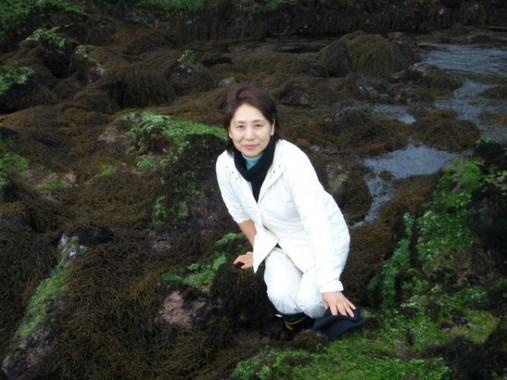 海藻おしば協会会長 野田三千代さんが協力 海藻に囲まれたソファで寝転ぶ