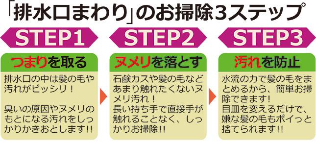 「排水口まわり」のお掃除3ステップ