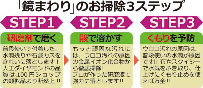 「鏡まわり」のお掃除3ステップ