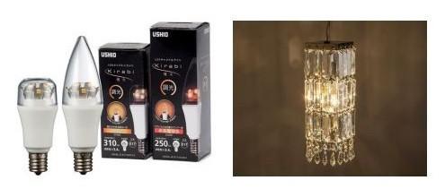 さまざまなシーンで煌びやかで明るい光を提供(商品写真の左がLEDキャンドルライト、右がLEDクリプトンライト。イメージ写真)