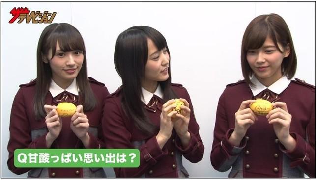 欅坂46の渡辺梨加(左)、菅井友香(中央)、渡邉理佐(右)