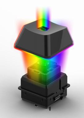 K08の英語104キーと5つのマクロキーはAurora ReactiveライティングシステムLEDによるRGBバックライトを備える