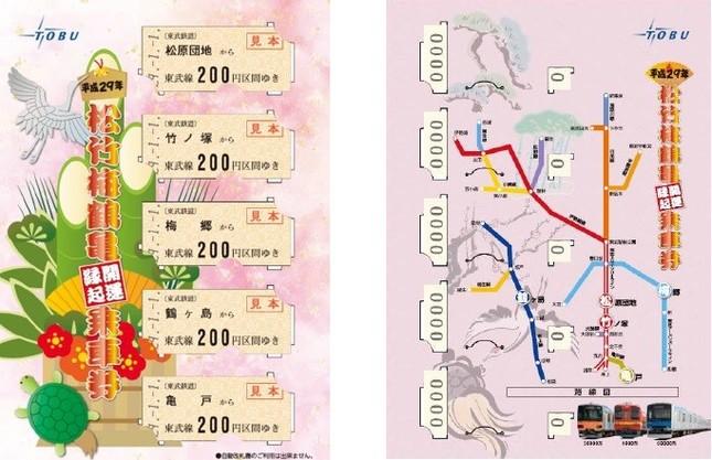 「平成29年松竹梅鶴亀開運縁起乗車券」台紙イメージ(左:表面、右:裏面)