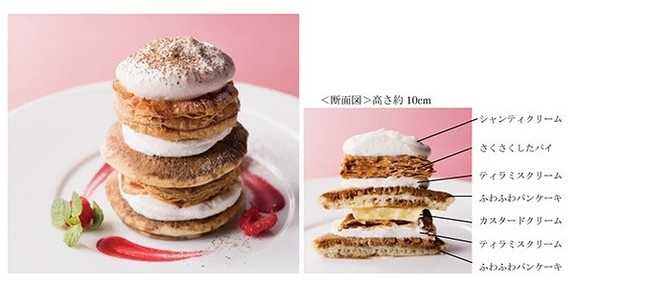 パンケーキとパイが層になっている欲張りスイーツ