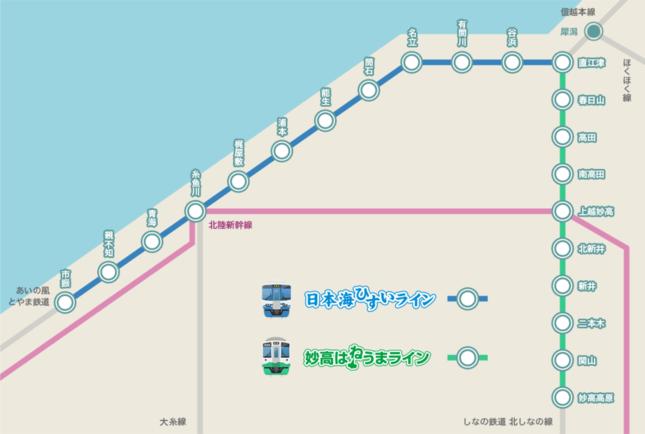 えちごトキめき鉄道の沿線マップ(同鉄道公式サイトより)