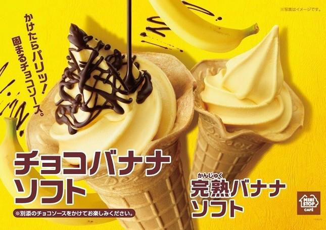 ソフトクリームとチョコソースの異なる食感