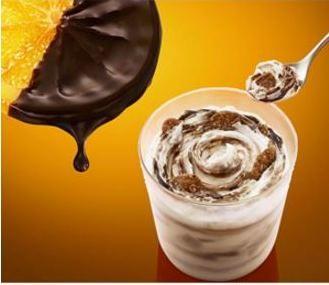 オレンジチョコソース×サクサク食感のチョコフレーク