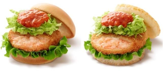 「リッチ海老カツバーガー蟹チリソース」(左)と「モスライスバーガー海老カツ&蟹チリソース」