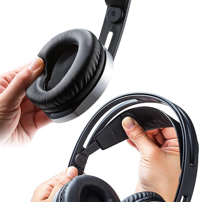 耳を覆う音漏れしにくい大型イヤーパッド採用