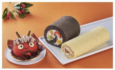 左から鬼ケーキ、恵方巻ロール 太巻き、恵方巻ケーキ バニラ