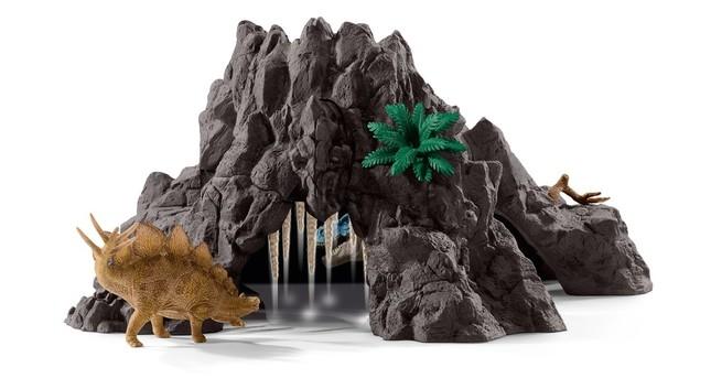 火山の中にある洞穴 は恐竜の監獄に。 落とし穴など仕掛けも いっぱい