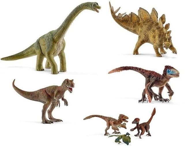 〈左上から時計回りに〉恐竜シリーズの「ブラキオサウルス」「ステゴサウルス」「ユタラプトル」「羽毛恐竜セット」「アロサウルス」