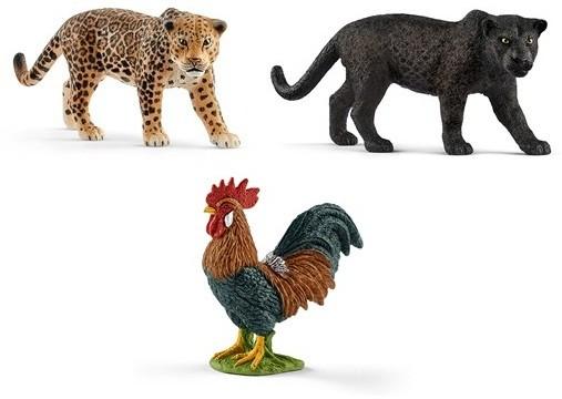 ワイルドライフシリーズの「ジャガー」〈左上〉「ブラック・パンサー」(右上)とファームワールドシリーズ の「おんどり」