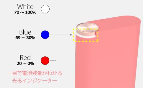 電池残量によって色が変わり一目で確認できるインジケーター