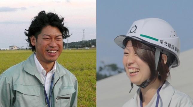 (写真左から)「福耕支援隊」の彌田雄太さん、福島県職員の鈴木智子さん