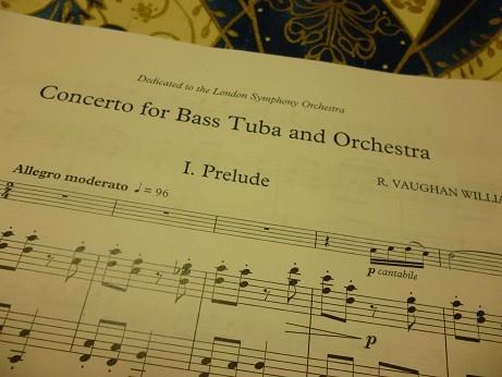 チューバ協奏曲の出だし、第1楽章前奏曲の楽譜