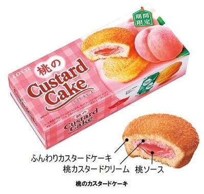 桃の味わいが楽しめるカスタードケーキ