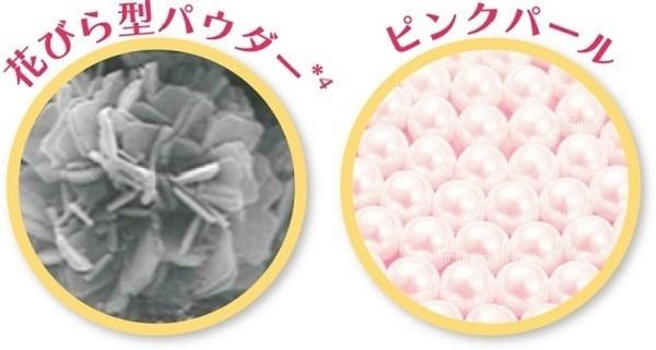 花びら型のパウダーとピンクパールで「ふんわり桃色毛穴レス肌」
