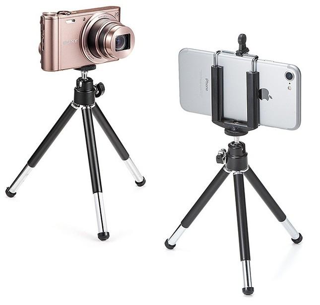 一般的な三脚ネジ式を採用、デジタルカメラなども対応
