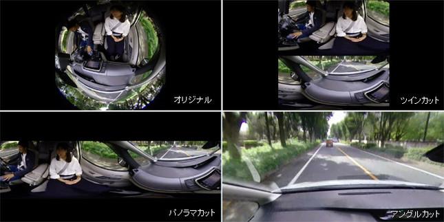 360度「オリジナル」映像を「パノラマカット」や進行方向のみの「アングルカット」などに編集できる
