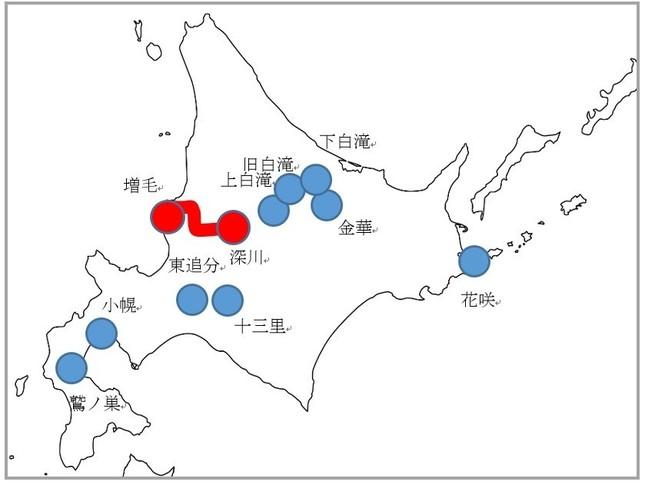青は第1部の9駅、赤は第2部の留萌本線