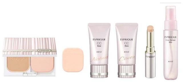 (左から) 「ピュアスキン パクト UV」と「パウダーファンデーション用 ケース」、パウダーファンデーション用 スポンジ、CC ベース ナチュラル、CC ベース カバー、フィットアップ コンシーラー UV、メイクリフレッシュ ミスト (収れん化粧水)