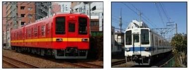 昨年運行したリバイバル車両(左)と現行カラーリングの8000系車両(右)