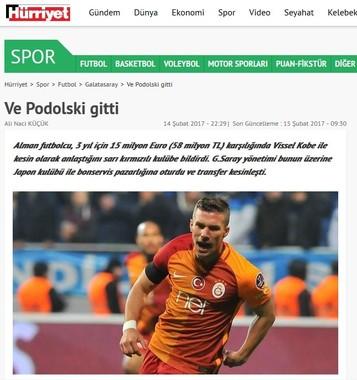 ポドルスキの移籍情報をトルコメディアが伝えた