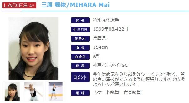 三原舞依選手(日本スケート連盟の公式サイトから)