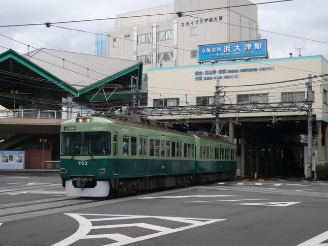 「春待ちヱビス号」に使用する大津線700形車両
