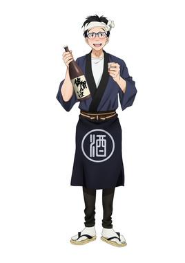 描き下ろしイラスト「勝生勇利×日本酒」