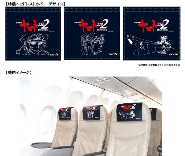 特製ヘッドレストカバーのデザインと機内イメージ