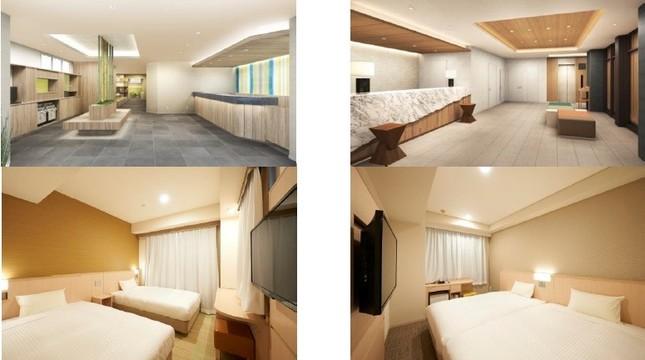 (写真左列から)京都四条烏丸のロビー(イメージ)とツインルーム、京都駅八条口のロビー(イメージ)とツインルーム