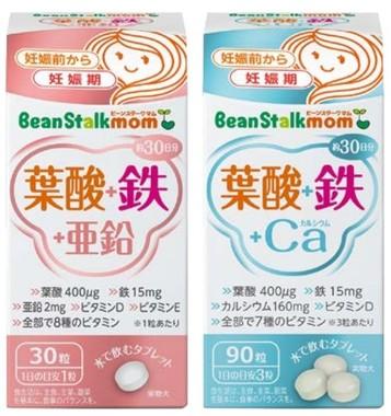 「葉酸+鉄+亜鉛」(左)と「葉酸+鉄+Ca」