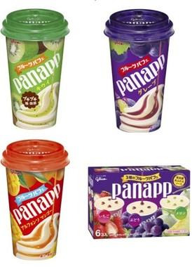 フルーツのこだわったお手軽パフェ「パナップ」。「キウイ」(左)が期間限定で新発売
