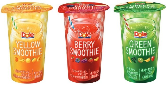 (左から) 「Dole YELLOW SMOOTHIE」「Dole BERRY SMOOTHIE」「Dole GREEN SMOOTHIE」