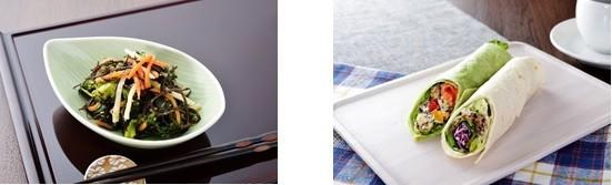 (写真左から)「幻の2日ひじきと菜の花ナムル」、「幻の2日ひじき&柚子胡椒チキントルティーヤ」