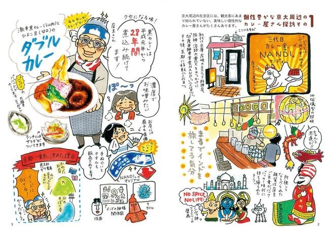 イラストコラムでは、京都のおいしいカレー店、カレーパンを紹介