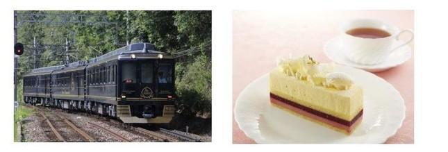 観光特急「青の交響曲」(左)と車内限定春季オリジナルケーキ「シュシュ」