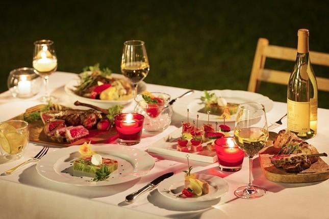 料理に合わせて4種類の信州ワインを用意し、ご当地ならではのペアリングを提案