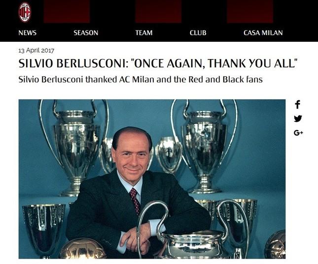 ベルルスコーニ氏がACミラン公式サイト上でコメント