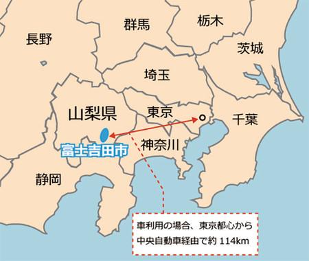 富士吉田市の位置(編集部作成)
