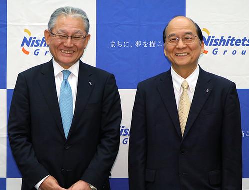 (写真左から)西鉄上席執行役員の藤田浩展事業創造本部長、倉富純男社長