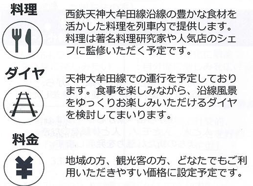 新型観光列車のサービス内容など(説明会資料より)