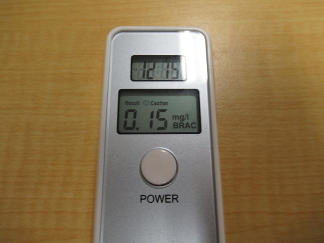 呼気1リットルあたり0.15ミリグラム検出された。