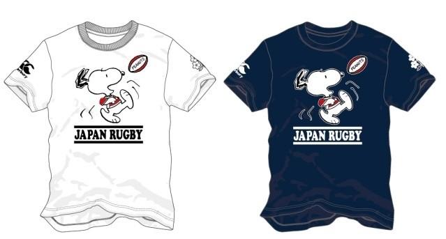 ラグビー日本代表とコラボのスヌーピーTシャツ