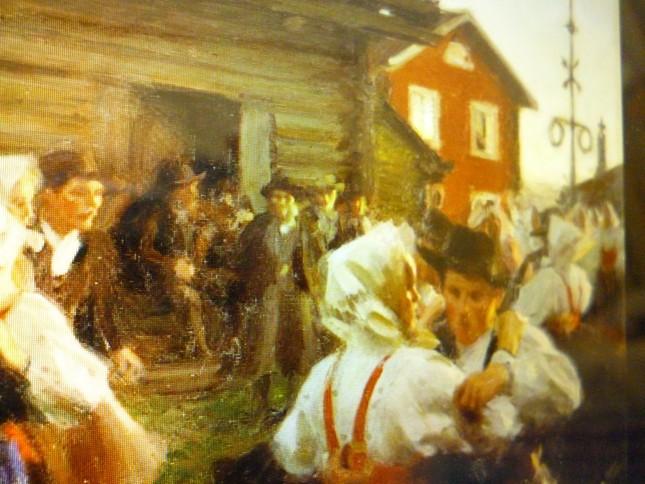 スウェーデンの夏至の祭りの様子